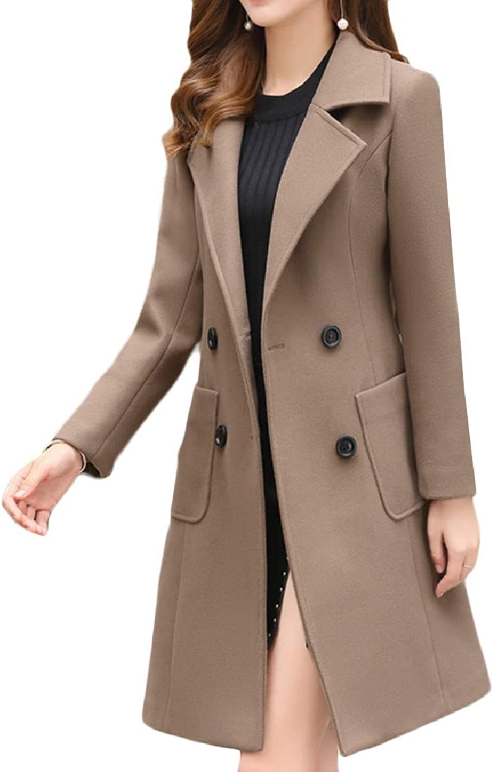 TaoNice Womens MidLong Side Waist Pockets Notched Collar Peacoat