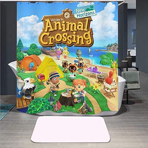 MNIAHGFQW DuschvorhangNeuankömmling Animal Crossing 3D-Druck Duschvorhang Polyester Stoff Badvorhang Wasserdichter Haken Badvorhang