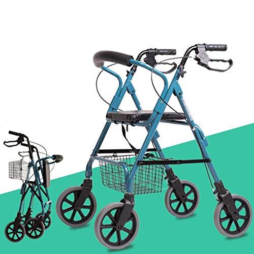 Wlehome Rollator Gehhilfen für Senioren, aufrechte Haltung Roll Walker, Leichte Faltbare Aluminium Walker Mit Comfort Seat, für Senioren Gebraucht Einkaufen Gehen,Blau