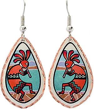 Southwest Native Earrings of Colorful Kokopelli Earrings Tear-drop Handmade Copper Kokopolli Jewelry  Red Kokopelli