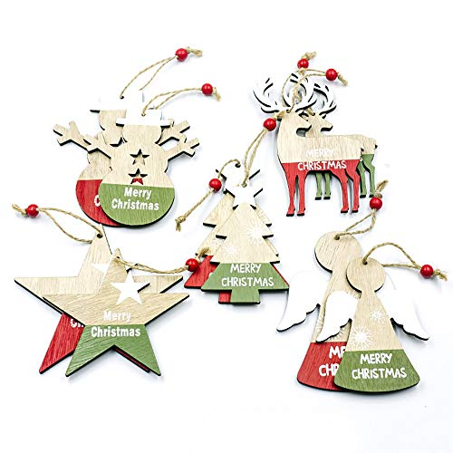 Shuny 10 Piezas 5 diseños Diferentes Decoración para árbol de Navidad, Colgante Navideño de Madera DIY Madera Colgante Adornos para Árbol de Navidad y Decoración de Fiesta