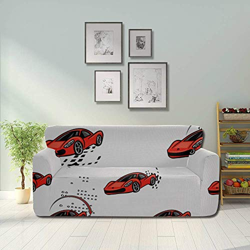 WYYWCY Speed Sport Racing Cars Repeated Microfiber Couch Cover Non Slip Sofa Cover Fitted Furniture Protector 2&3 Seat Sofas