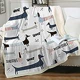 Sleepwish Dachshund Throw Blankets Cute Fleece Blanket Navy Blue Colorful Sausage Dog Print Sherpa Blanket Childish Animals Cozy Bedding Blanket Dachshund Dog Lover Fuzzy Blanket for Women (50'x60')