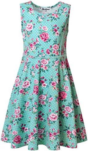 Jxstar Big Girls Floral Print Dress For Skater Flowers Pattern Sleeveless Summer Dress Angel product image
