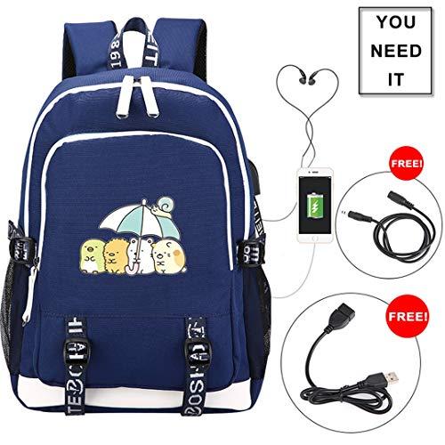 AUGYUESS süßer Sumikko Gurashi Rucksack Cartoon-Schulranzen Daypack Bookbag Schultertasche mit USB-Ladeanschluss Blau Blue 1