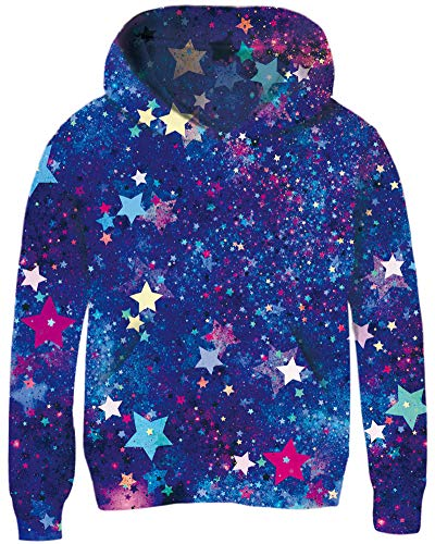 Teens Cool Colorful Starry Galaxy Pullover Sweater for Girls Fasion Lavender Green Blue Stars Hoodies 13 14 Years Juniors 3D Print Long Sleeve Spring Outfits Young Boys School Loose Sports Sweatshirts