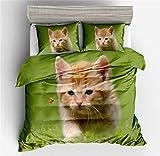 3D Tier Theme Cat Printing Katze Bettwäsche Mit Reißverschluss Weiß Blau Grün Kind Junge...
