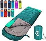 Sleeping Bag 3 Season Warm & Cool Weather - Summer, Spring, Fall, Lightweight,Waterproof Indoor & Outdoor Use for Kids, Teens & Adults for Hiking,Backpacking and Camping (Emerald Green, Single)