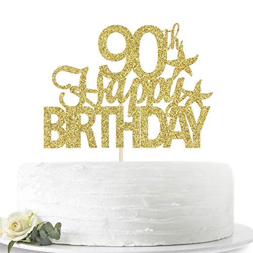 Glitter Gold Happy 90th Birthday Cake Topper, Hello 90, Ninety Years Old Party Sign Decorations
