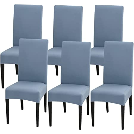 Dining Chair Slipcover, LuSumtly 6 Pcs Chair Cover High Stretch Removable Kitchen Chair Seat Protector Washable Parsons Chair Cover for Hotel, Dining Room, Ceremony, Banquet Wedding Party