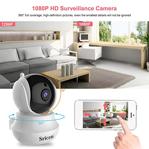 WLAN AP IP Kamera Sricam 020 1296P HD WiFi Überwachungskamera mit 355 ° Schwenkbar Heim- und Babyphone mit Bewegungssteuerung Zwei-Wege-Audio Nachtsicht gehören Fernalarm und Mobile App Kontrolle