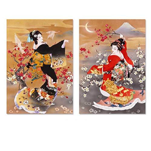 Jwqing Japanse stijl zwart rood kimono dame foto's posters afdrukken decoratie pruim bloem canvas schilderij muurkunst woonkamer (40x60cmx2 geen lijst)