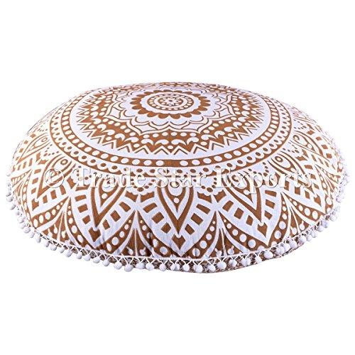 Trade Star Exports Indien Rond Mandala Taie d'oreiller 81,3 cm, L Doré ombré Sol Coussins décoratifs, Couvre-lit, Pom Pom Housse de Coussin d'extérieur, Boho Pouf Ottoman, en couvertures d'oreiller