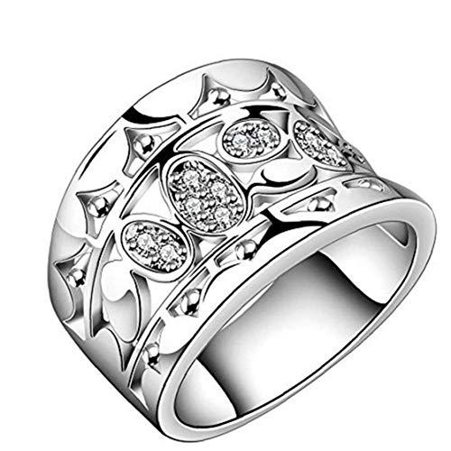 NaisiCore Anillos 925 Chapado en Plata de diseño Ancho de circón Anillos de Bodas para la joyería del Partido Tamaño 8-Cuidado de la Salud