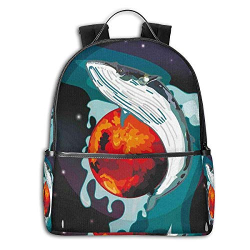 Rucksäcke Taschen Daypacks Wanderrucksäcke, College Backpacks for Women Girls,Aquarium Inspired Doodle Style Cute Swimming Figures with Scales Underwater Life,Casual Hiking Travel Daypack