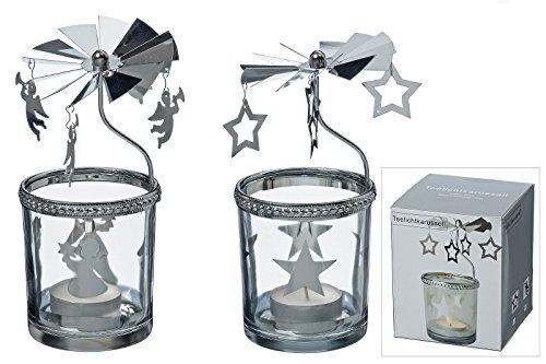 Windlicht Teelichtkarussell 2 er Set Metall Glas silber H. ca 17 cm Engel und Stern rotierend