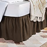 Amazon Basics Ruffled Bed Skirt - Queen, Chocolate