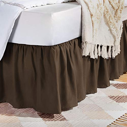 AmazonBasics Ruffled Bed Skirt - King, Chocolate