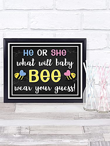 Katie Doodle What Will It Bee Gender Reveal Party Supplies Games Table Decorations - Super Cute Centerpiece for Stickers, Leis, Pins, Beads, Necklaces, T-Shirts - 8x10 Wear Your Guess Sign [Unframed]