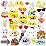 Konsait Emoji Photo Booth Props (38pcs), cumpleaños Cabina de Fotos Accesorios photocall DIY Photo Booth Atrezzo Favorecer para Infantil y Adultos Fiesta de cumpleaños Boda Navidad Año Nuevo