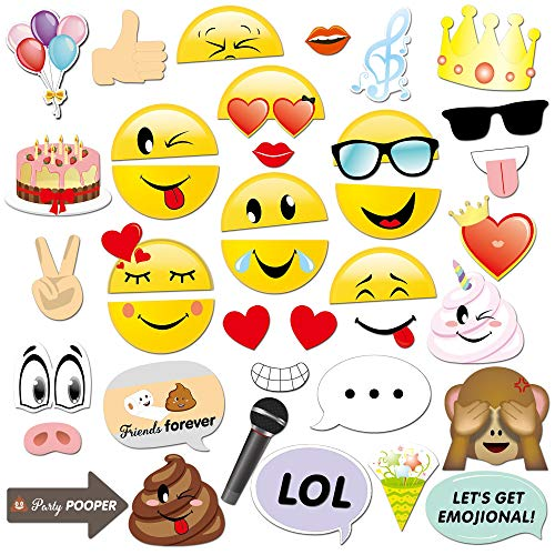 Konsait Emoji Photo Booth Props (38pcs), cumpleaños Cabina