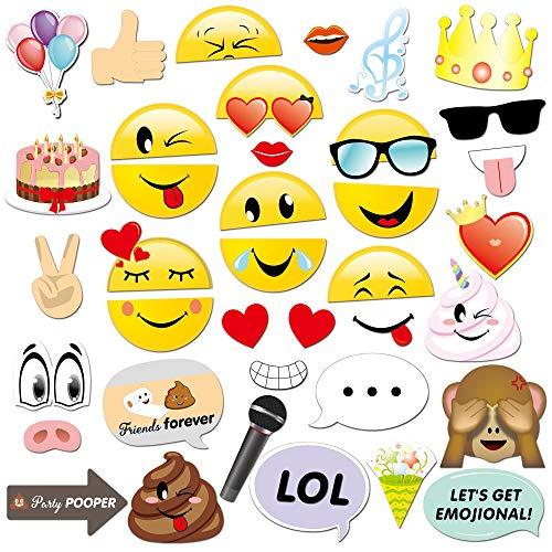 Konsait 38 Stücke Emoji Photo Booth Props Hochzeit Photo Booth Foto Requisiten Fotoaccessoires Geburtstag Fotoautomat Zubehör für Hochzeit Geburtstag Party Dekorationen
