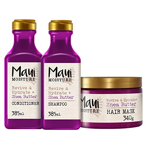 Maui Moisture - Shea Butter Revitaliza e Hidrata Champú 385 ml + Acondicionador, 385 ml + Mascarilla Antirrotura, 340 g