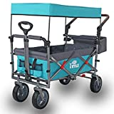 TMZ Utility Folding Wagon with Canopy, Collapsible Garden...