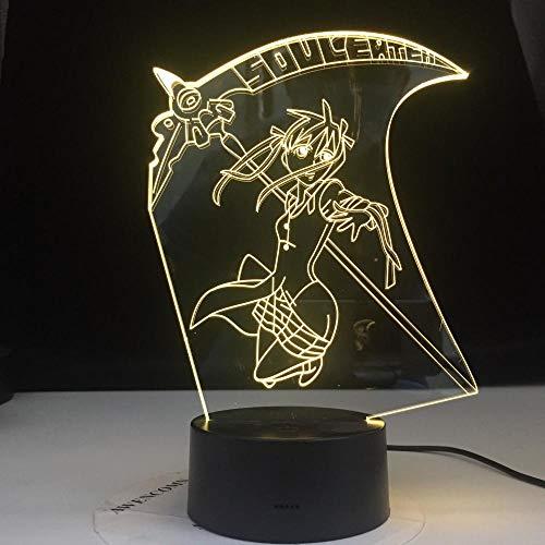 3D Illusion Lampe Led Nachtlicht Angebote Blitz Anime Soul Eater Maka Albarn Figur Kinder Licht für Heimtextilien Mädchen Zimmer Nachttisch Lampe Geschenk
