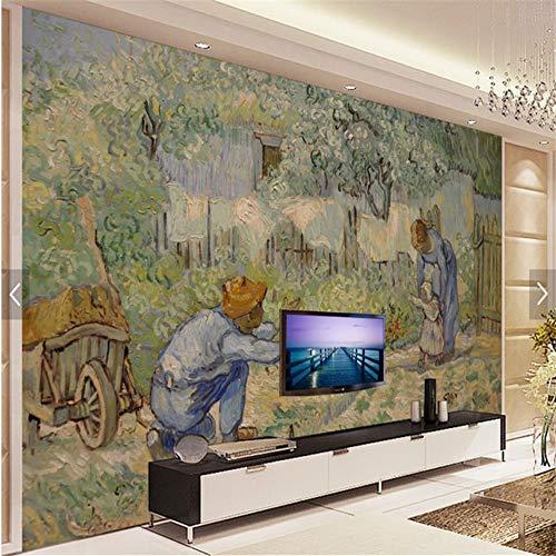 Papel pintado fotográfico 3D Van Gogh pinturas al óleo Vater Erster Paso Papel pintado mural Decoración Hogar Papel de Parede