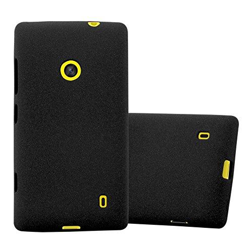 Cadorabo Custodia per Nokia Lumia 520 in Frost Nero - Morbida Cover Protettiva Sottile di Silicone TPU con Bordo Protezione - Ultra Slim Case Antiurto Gel Back Bumper Guscio