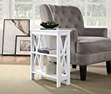 White Finish Wooden X-Design Slim Chair Side End Table with 3-Tier Shelf by RAAMZO