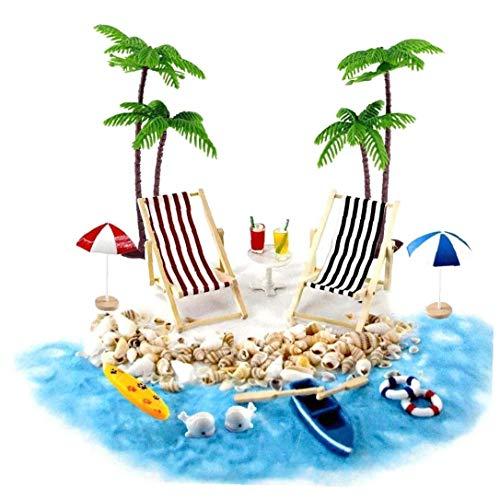 Casa de muñecas en miniatura Accesorios Beach Decoración del paisaje de la playa Micro con tumbonas Sombrillas Palmera en Fuentes de verano 18PCS Beach