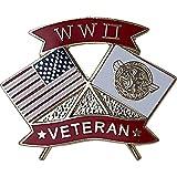 American and WWII Veteran Crossed Flags 1 1/8' Lapel Pin