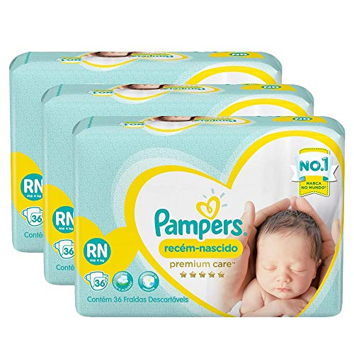Kit Fralda Pampers Premium Care Recém Nascido com 108 unidades - 2 à 4,5kg