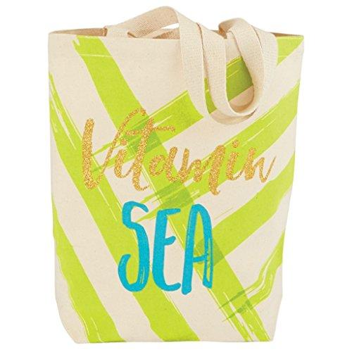 Mud Pie Womens Fashion Lifes A Beach Canvas Tote Vitamin Sea Green