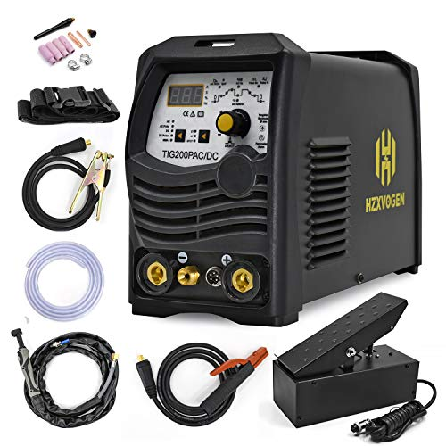 HZXVOGEN Tig AC DC Pulse 200A 220V Welder with Foot Pedal Arc MMA Stick 0.2~200HZ Pulse Frequency Digital Control Inverter Welding Machine for Aluminum Stainless Steel Welding (Model: TIG200PAC/DC)