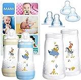 MAM Essential Bottle Set, regalos para bebés de +2 meses, con 2 biberones anticólicos Easy Start (260 ml), 2 cuerpos de biberón (320 ml) y 4 tetinas (2x T3 + 2x TX), NIÑO (Boy)