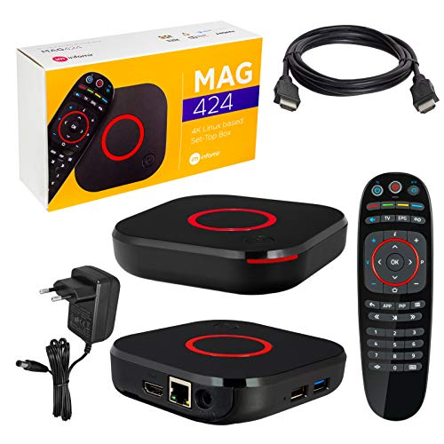 MAG 424 Original Infomir & HB-DIGITAL 4K IPTV Set TOP Box Multimedia Player Internet TV IP Receiver # 4K UHD 60FPS 2160p@60 FPS HDMI 2.0# HEVC H.256 Unterstützung # ARM Cortex-A53 + HDMI Kabel