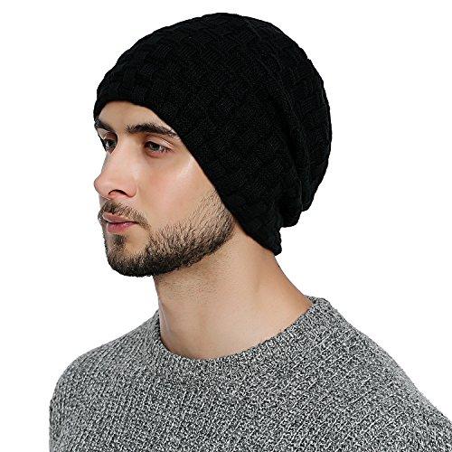 DonDon Gorro Hombre invierno Estilo flexible con interior forrado muy suave y cómodo - Negro