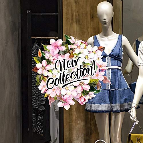 CRNC0051 - Pegatina para ventana de la colección Primavera Verano, 100 % reutilizable, decoración para escaparates de tiendas, escaparates sin pegamento, reposicionable y reutilizable a voluntad