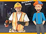 Blippi Halloween Song - Crushes Pumpkin with Roller Construction Vehicle