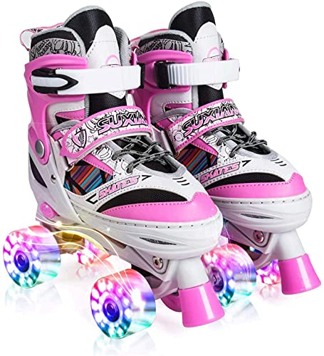Kuxuan Doodle Design Illuminating Roller Skates Pink