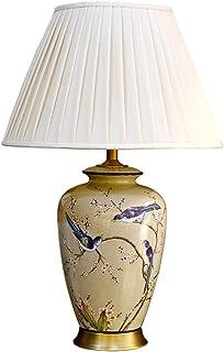 Lampe de Table en céramique Fleur et Oiseau Peint Salon Chinois Salle d'étude Chambre lumière Lampe de Bureau en Lin Forme...