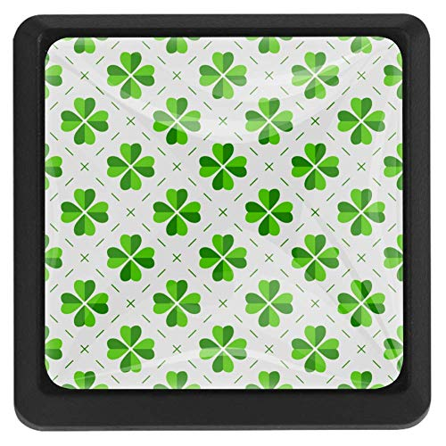 Plaid and Shamrock Cabinet Hardware Square Knobs for Cupboard and Drawer