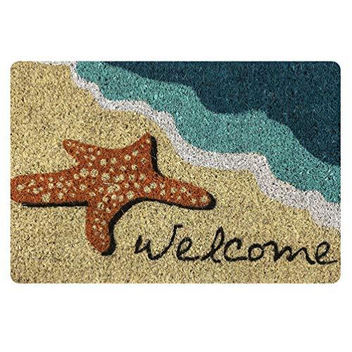 Coloranimal - Felpudo con diseño de estrellas de mar y playa, interior y exterior