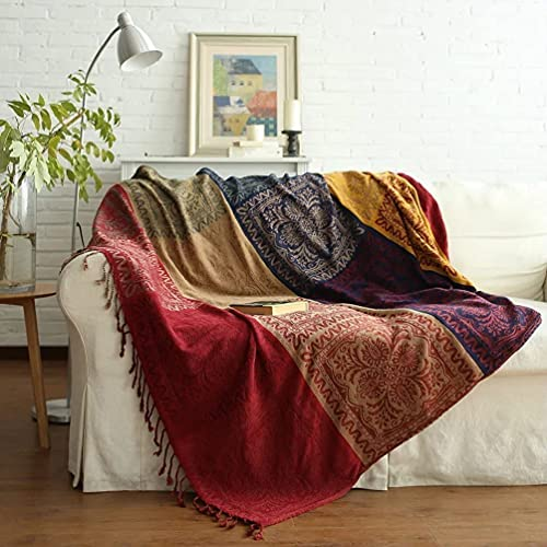 """Dodifker throw Blanket, Colorful Chenille Woven Bohemian for Bed Couch Sofa Soft Chair Recliner Loveseat Furniture Cover (60""""*75"""")"""