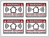 4 Stickers Alarme Maison Sécurisé