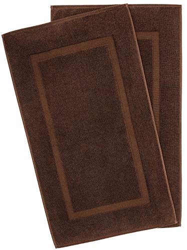 American Bath Towels, 2 Pack 20x34 Soft & Absorbent 900 GSM Premium Hotel & Spa Quality Ringspun Turkish Cotton Banded Bathroom Bath Mat Set, Dark Brown