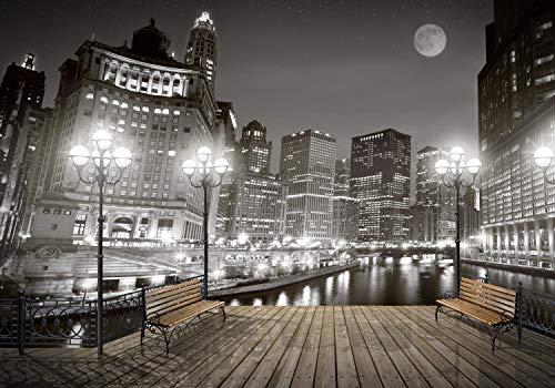 wandmotiv24 Fototapete New York bei Nacht S 200 x 140cm - 4 Teile Fototapeten, Wandbild, Motivtapeten, Vlies-Tapeten Hochhaus, Lichter, Nachts M1240